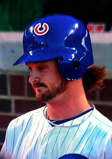 Chicago Cubs Travis Wood's helmet during Monday night's game against the Mets